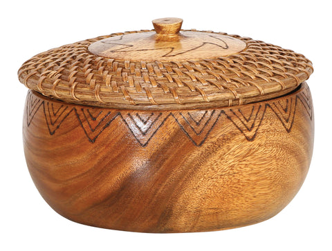 "9.5"" Round Woven Rattan & Acacia Wood Kitchen Container with Lid & Burned Design"