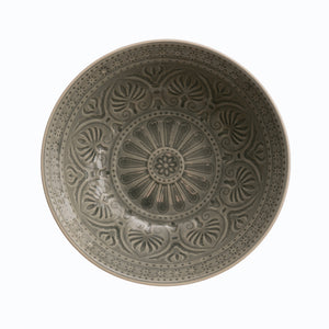 "10.5"" Round Debossed Stoneware Serving Bowl with Crackle Glaze Finish (Each one will vary)"