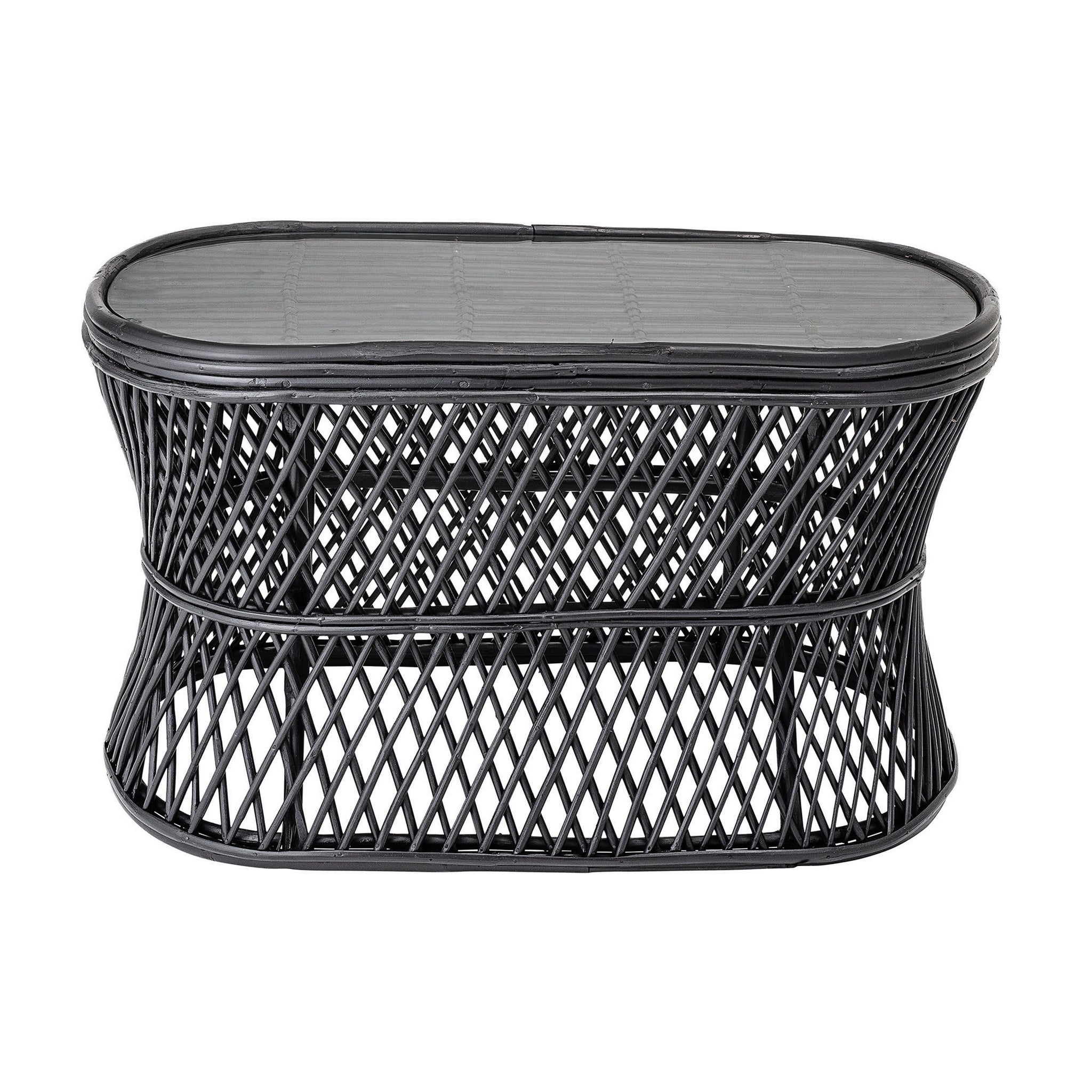 Oval Handwoven Black Rattan Table with Glass Top