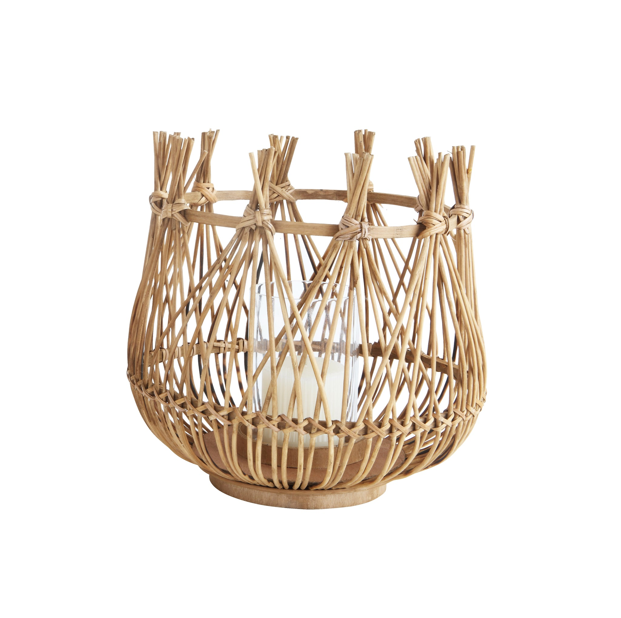 Small Round Bamboo Candleholder with Glass Insert