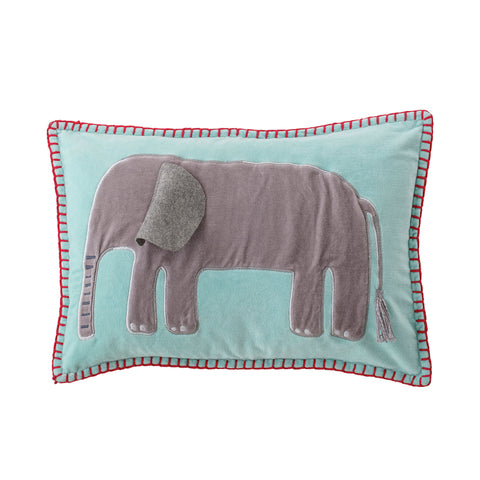 Blue Cotton Velvet Embroidered & Appliqued Elephant Pillow