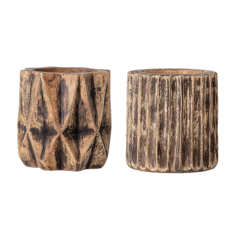 "5"" Hand-Carved Mango Wood Planter with Charred Finish (Set of 2 Styles/Holds 4"" pot)"