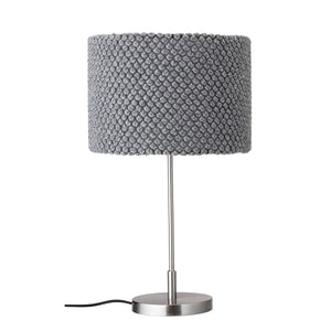 Grey Metal Table Lamp with Textured Wool Shade