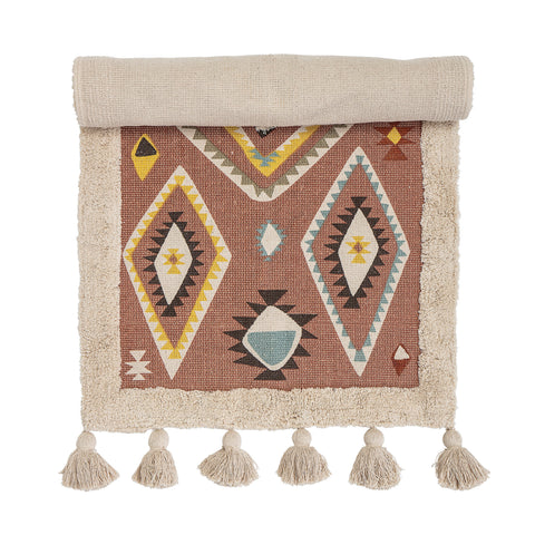 2' x 4' Multicolor Cotton Kilim Rug with Southwestern Pattern & Tassels