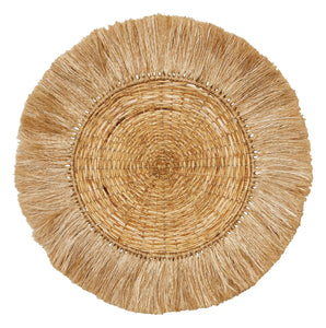 "Handwoven 28"" Round Rattan & Abaca Wall Décor with Fringe"
