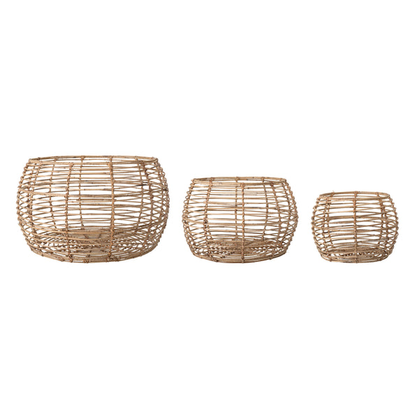 Beige Open Weave Rattan Baskets (Set of 3 Sizes)