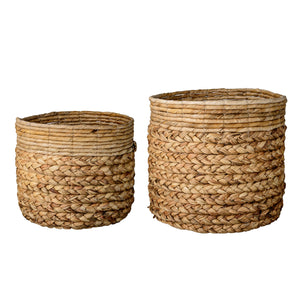 Beige Water Hyacinth and Banana Leaf Baskets (Set of 2 Sizes)