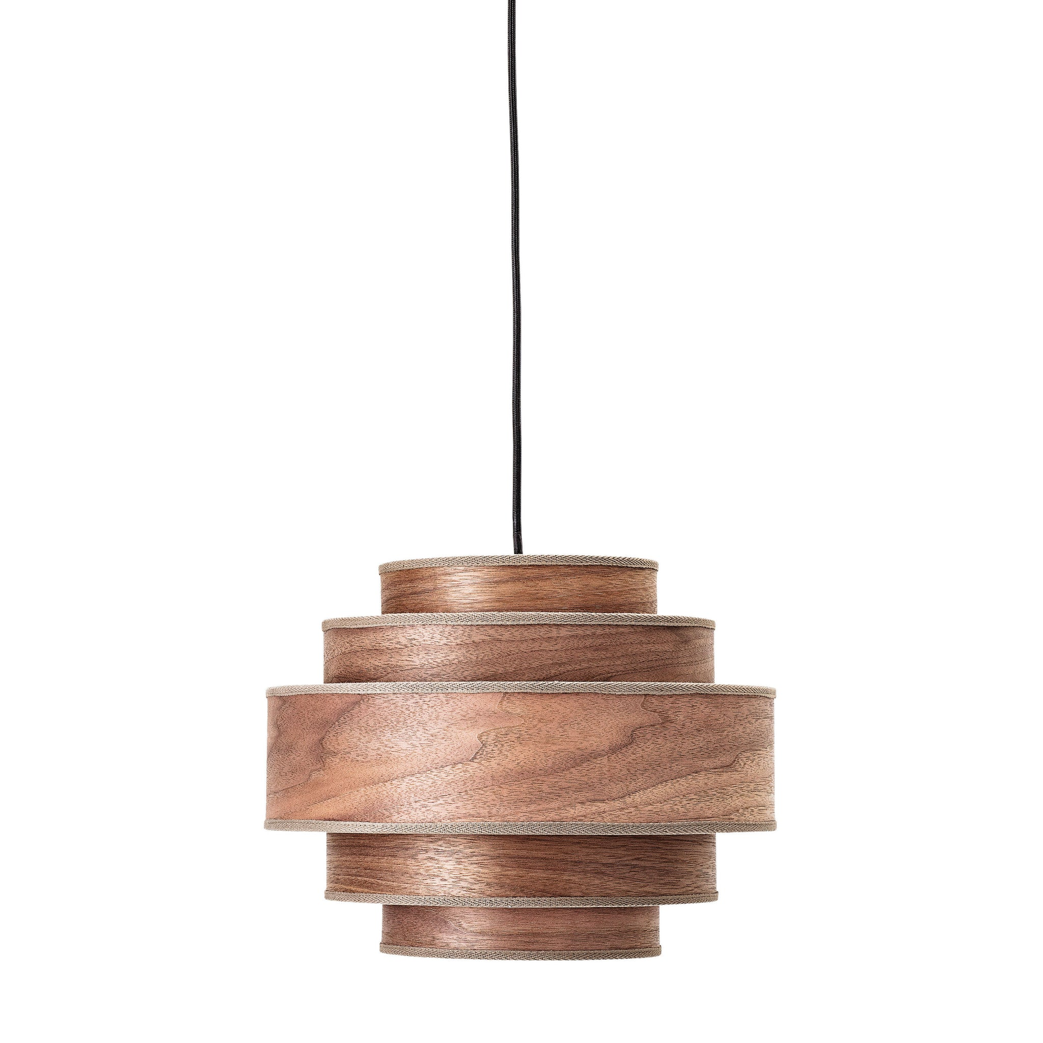 Walnut Veneer Pendant Light with Fabric Edging