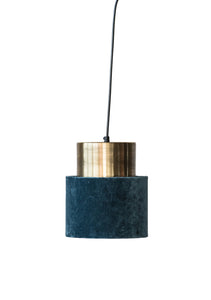 Teal Blue Cotton Velvet & Brushed Gold Metal Pendant Light