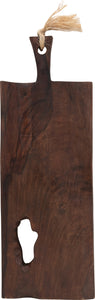 "22""L Rectangle Mango Wood Cheese/Cutting Board with Abstract Cutout & Handle (Each one will vary)"