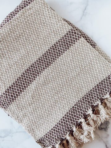 Grey Recycled Cotton Blend Knit Throw w/ Fringe & Stripe - Brandt's Home Decor