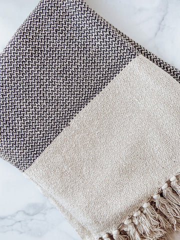 Grey Recycled Cotton Knit Throw with Fringe - Brandt's Home Decor