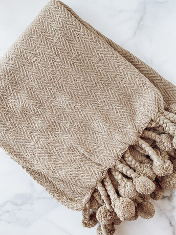 Cotton Woven Throw with Pom Poms (Dark Grey) - Brandt's Home Decor