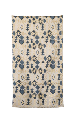 3' x 5' Blue & Gold Cotton Foil Print Rug