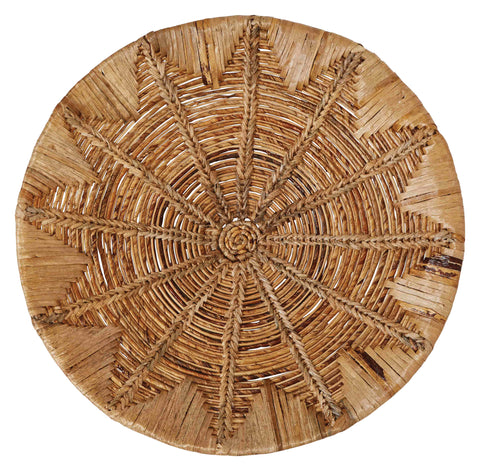 "27.5"" Round Handwoven Banana Bark & Water Hyacinth Basket Wall Décor"
