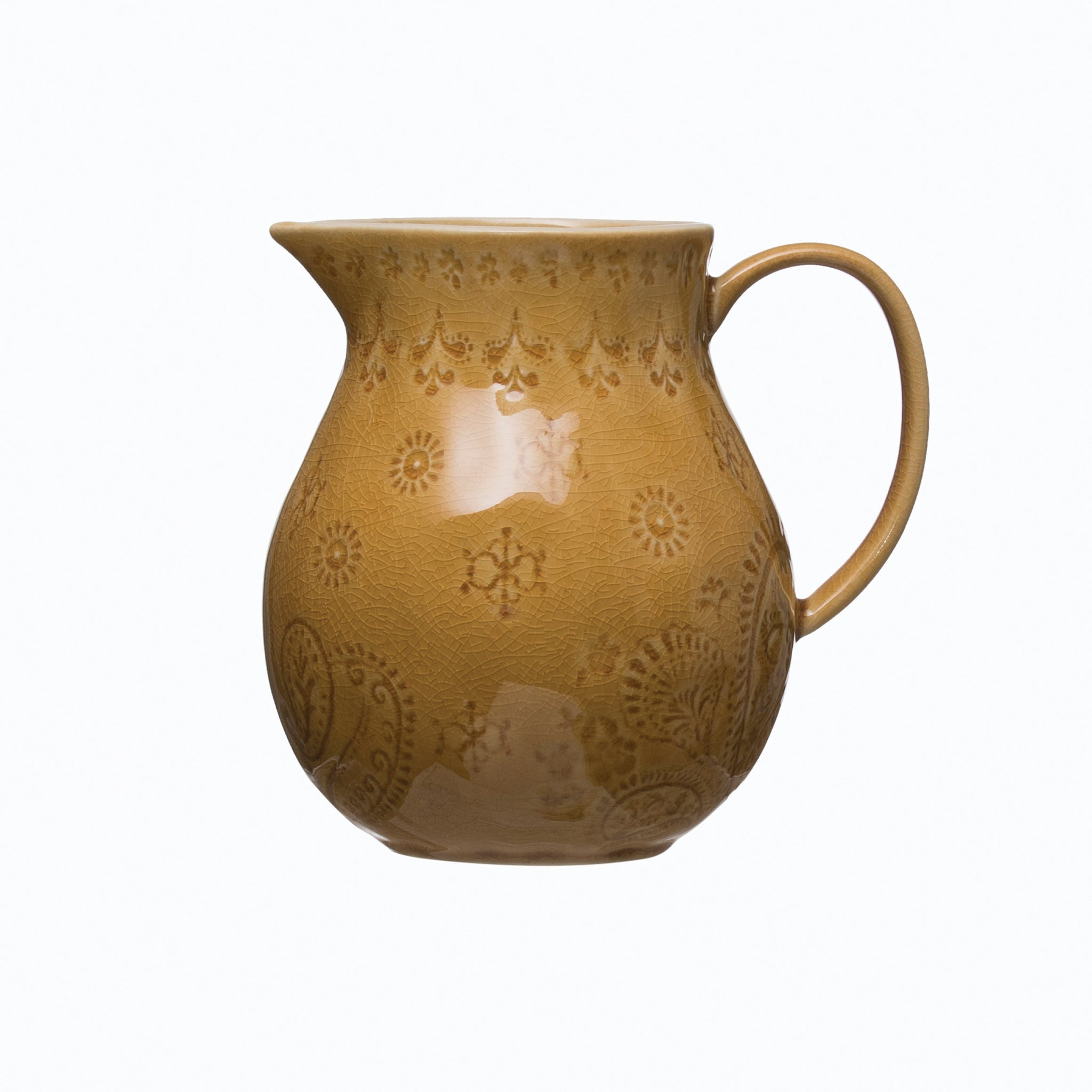 32 oz. Debossed Stoneware Pitcher with Crackle Glaze Finish (Each One Will Vary)