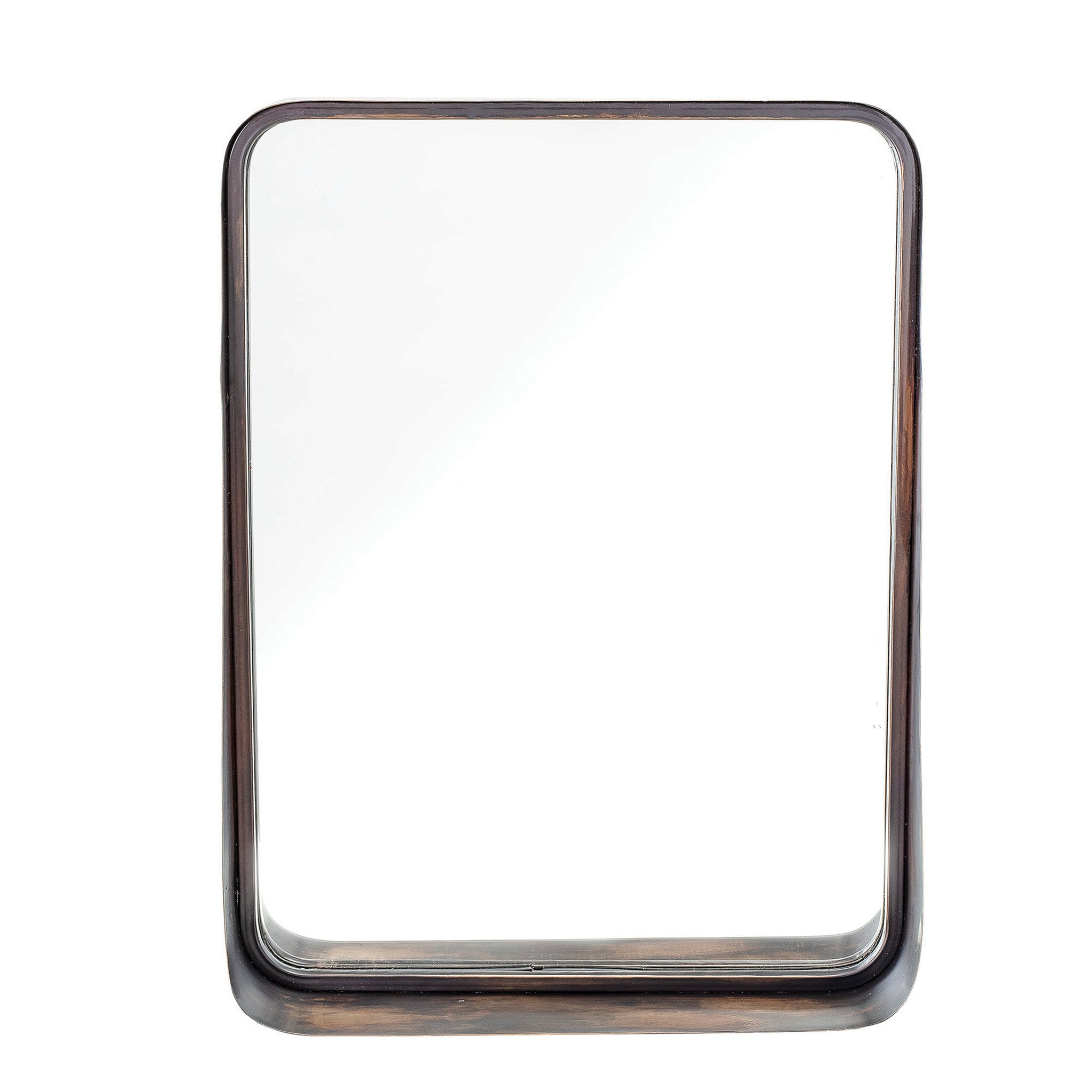 Square Wall Mirror with Shelf, Metal Frame & Antique Copper Finish
