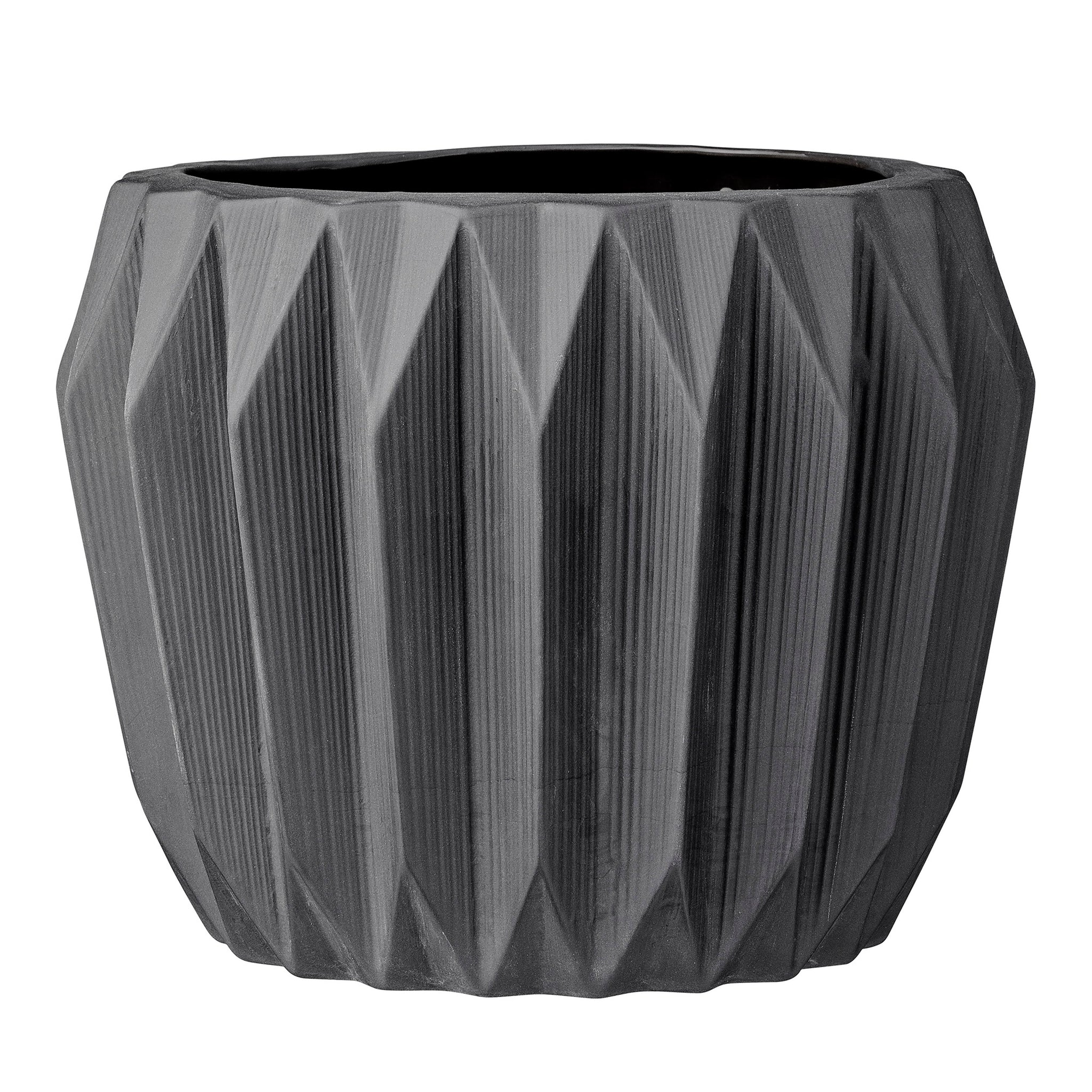 Round Grey Fluted Ceramic Flower Pot