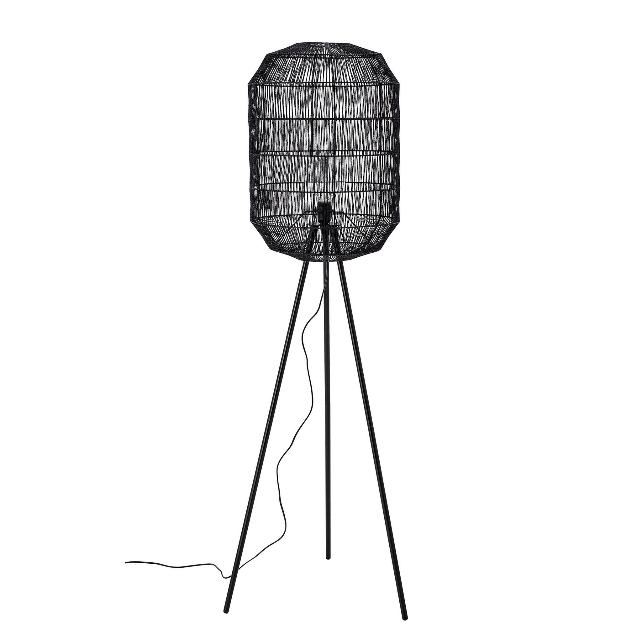 Oval Paper Rope Floor Lamp with Metal Tripod Legs