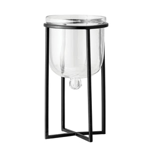 "7.25""H Glass Planter/Candleholder on 11.75""H Black Metal Stand (Set of 2 Pieces)"