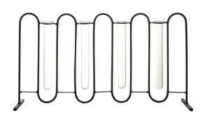 Four Test Tube Bud Vases in Metal Stand (Set of 5 Pieces)