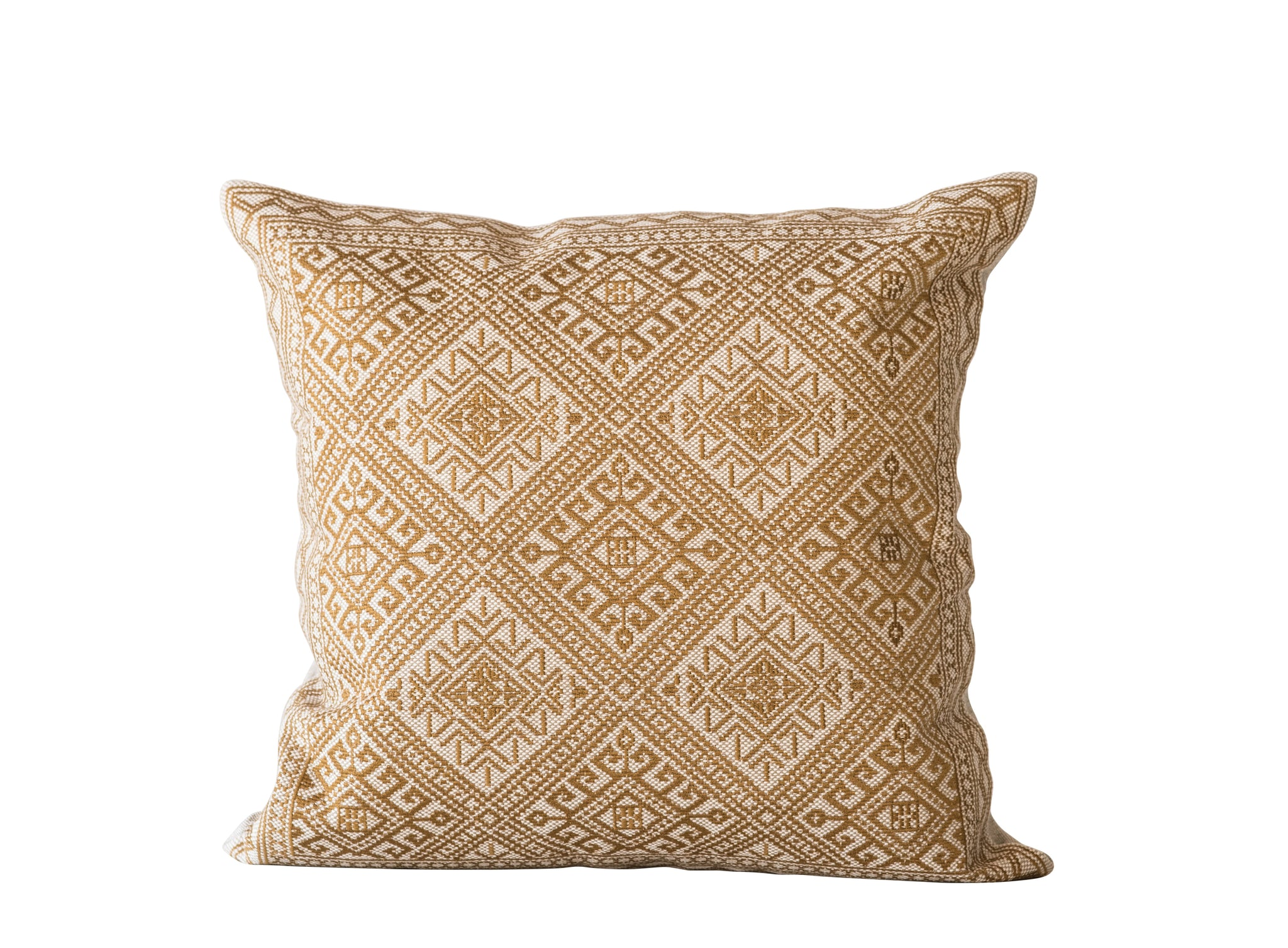 Goldenrod Square Cotton Embroidered Pillow