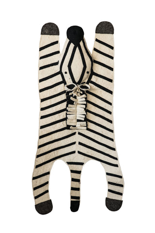 2.5' x 3.5' Black & White Striped Felt Zebra Rug