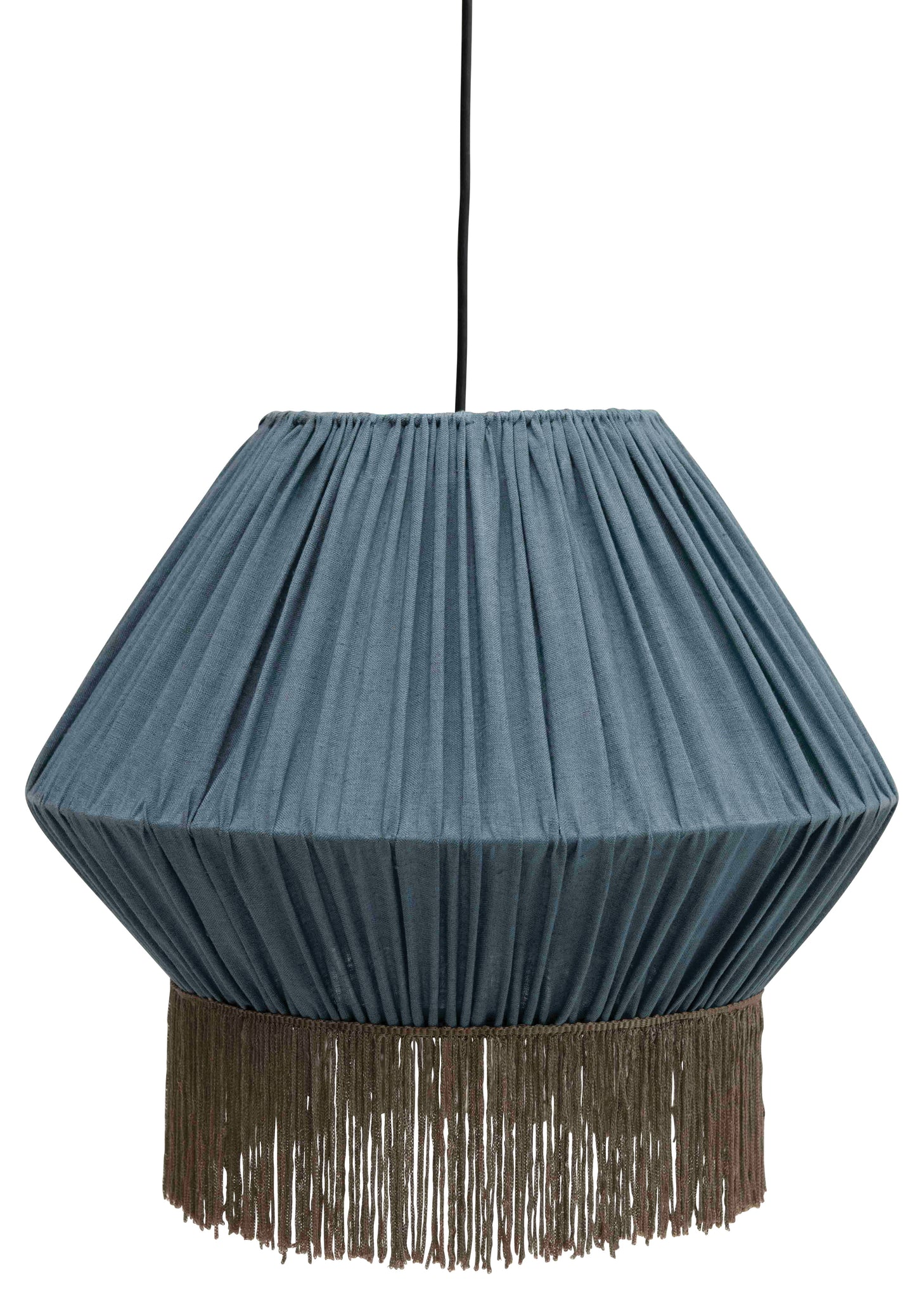 "17.5"" Round Gathered Cotton Pendant Light with Fringe & 6' Cord (Hardwire Only)"