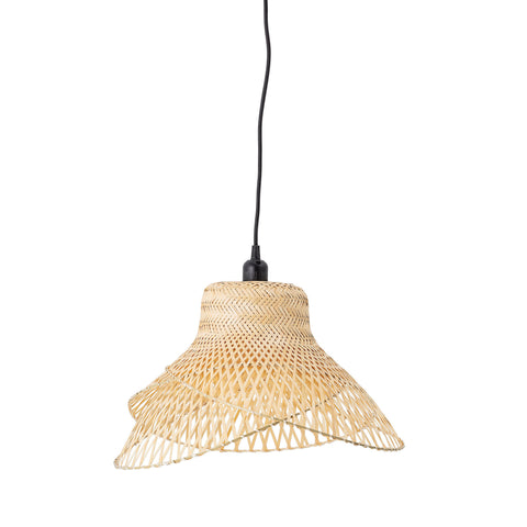 Tropical Hat Shaped Handwoven Bamboo Pendant Light (Hardwire Only)