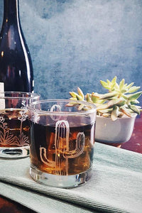 Cactus Etched Whiskey Glass