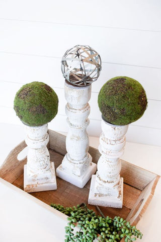 White Distressed Candlesticks