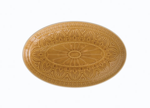"13.5"" Oval Debossed Stoneware Serving Platter with Crackle Glaze (Each one will vary)"