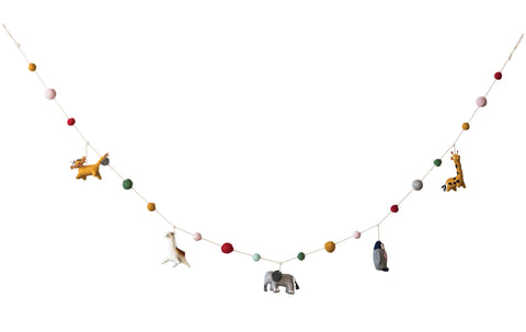 Multicolor Wool Felt Animal Shaped Garland