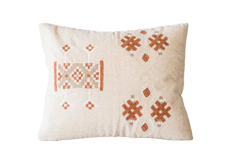 Brown & Off-White Embroidered Cotton Blend Pillow