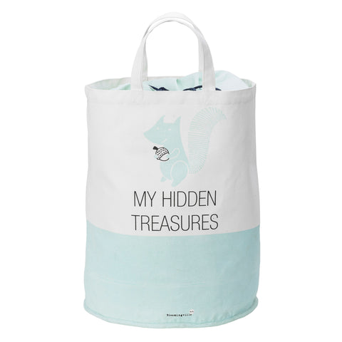 White and Mint My Hidden Treasures Cotton Storage Bag