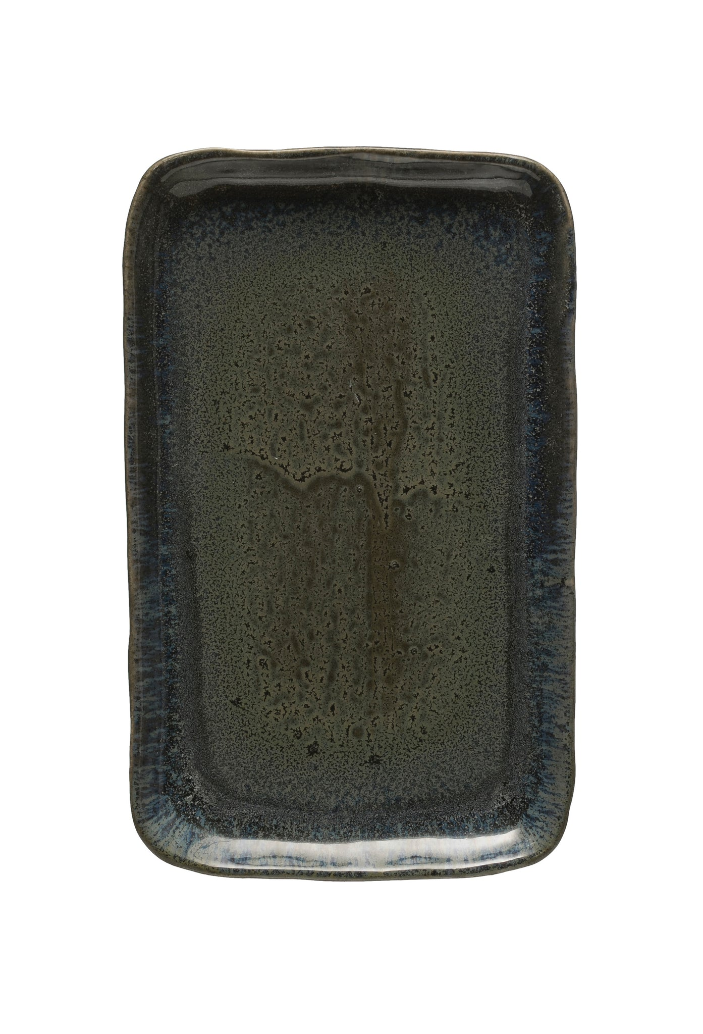 "12""L Rectangle Stoneware Serving Platter with Reactive Glaze Finish (Each one will vary)"