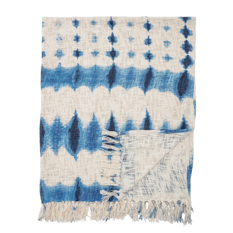 Blue Tie-Dyed Cotton Throw with Fringe