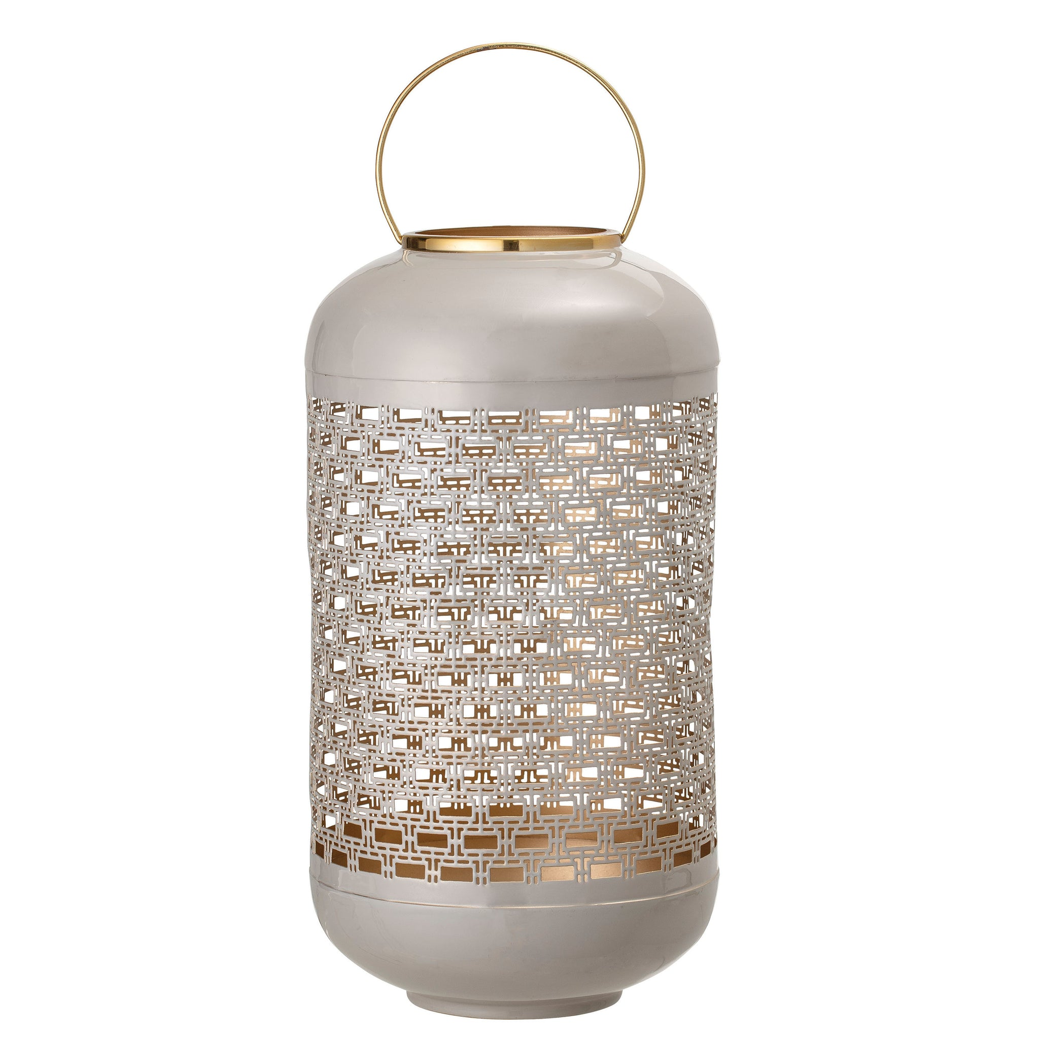 Medium Grey Metal Lantern with Brass Handle