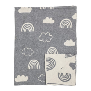 Reversible Grey & White Cotton Knit Rainbow & Clouds Baby Blanket