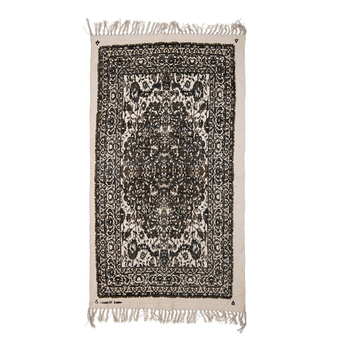 3' x 5' Cotton Printed Dhurrie Rug with Floral Design & Fringe