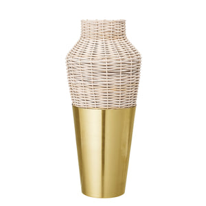 Gold Metal Vase with Rattan Trim & Glass Insert