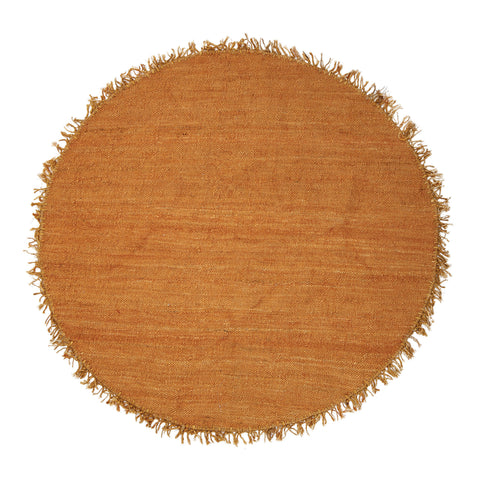 5' Gold Jute & Chenille Woven Rug with Fringe