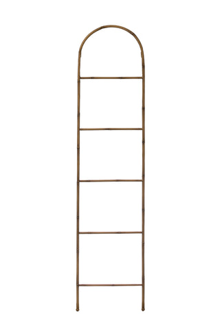 "68""H Decorative Metal Ladder with Arched Top & Bamboo Finish"
