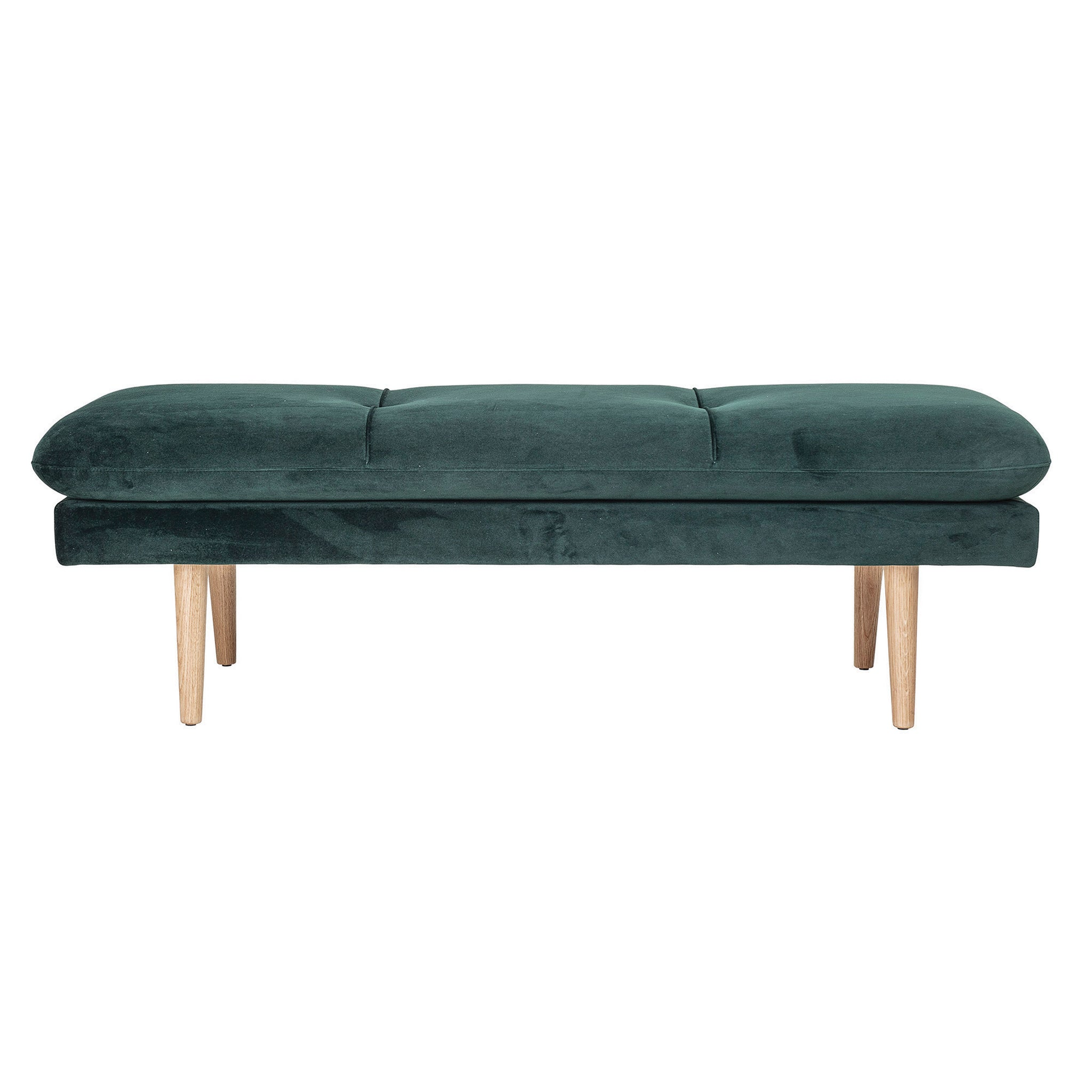 Green Brushed Velvet Bench with Wood Legs