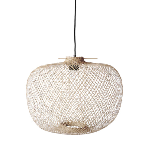 Round Handwoven Bamboo Pendant Light with 8' Cord (Hardwire Only)
