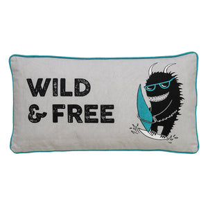 "Grey & Blue ""Wild & Free"" Monster Pillow with Triangle Designed Back"