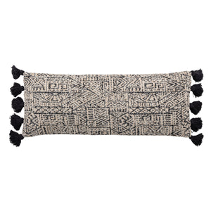 "36""L Cotton Woven Lumbar Pillow with Geometric Patterns & Thick Tassels"