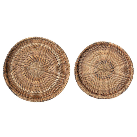 Round Rattan Trays with Black & Brown Stitching & Handles (Set of 2 Pieces)