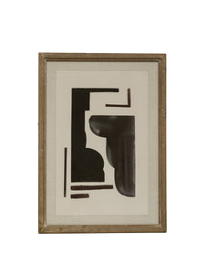 Abstract Wall Art with Fir Wood Frame