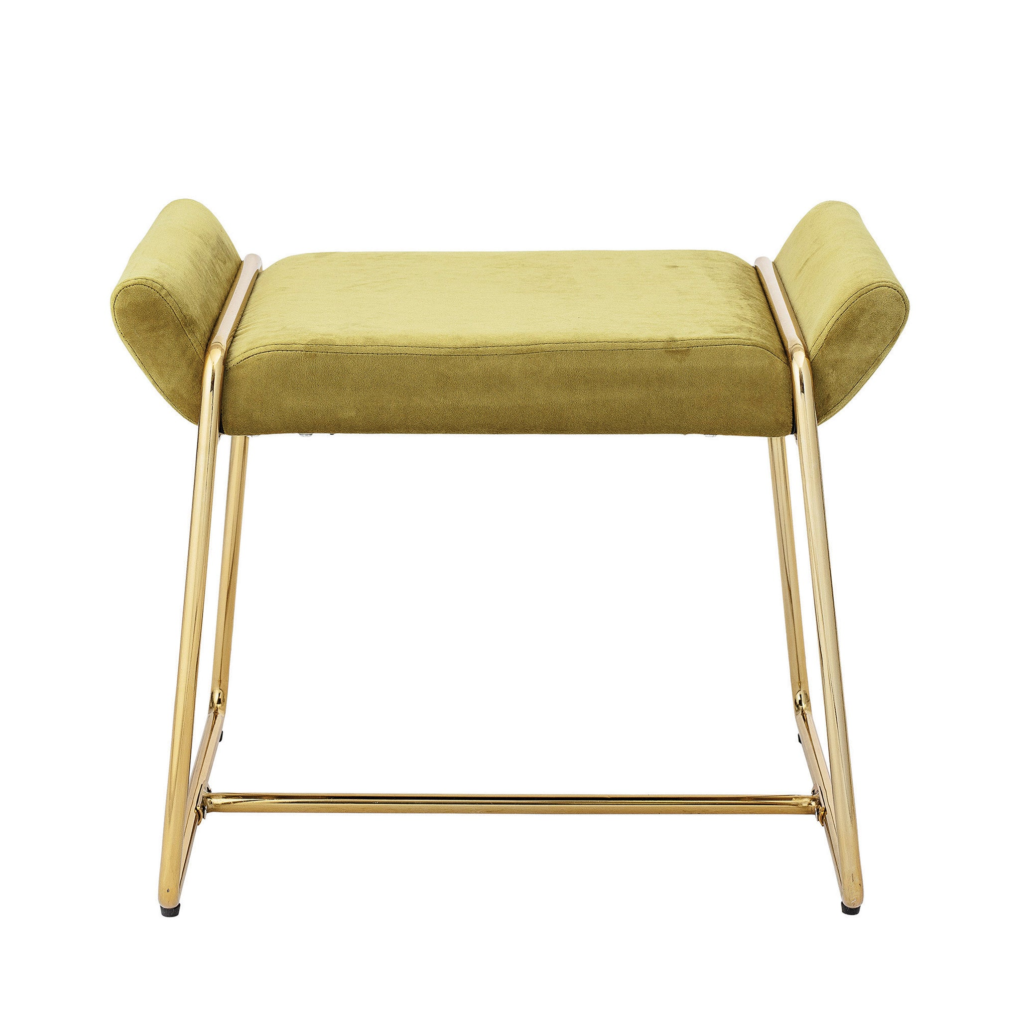 Chartreuse Upholstered Stool with Gold Metal Frame